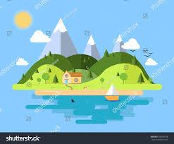 House Flat Design Flat Design House Nature Beach Stock Vector 383626378 Shutterstock