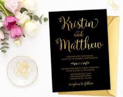 black and gold wedding invitations gold wedding invite etsy