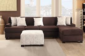 Ottoman Pillows Casual 3 Chocolate Micro Suede Sofa Sectional Chaise