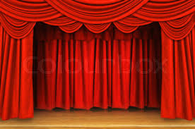 Curtains Show Theater Stage Red Curtains Show Spotlight Background Stock