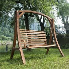 wooden porch swing with metal frame