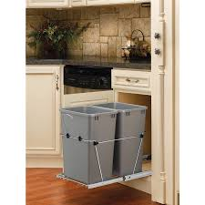 Kitchen Cabinets With Drawers That Roll Out by Shop Pull Out Trash Cans At Lowes Com