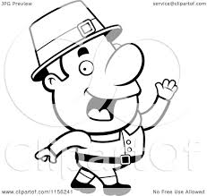 cartoon clipart of a black and white walking pilgrim man vector