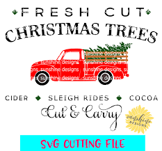 fresh cut christmas trees svg red truck svg red christmas tree