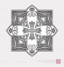 floral abstract ornament of shape christian cross graphic