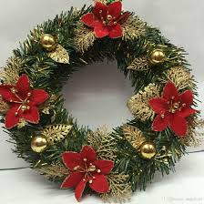 17 inch christmas wreath with christmas flower small flash ball