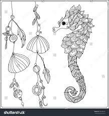 coloring page sea horse sea stock vector 396388762