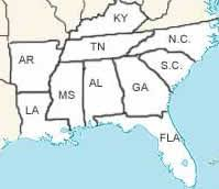 map of usa showing southern states usa geography quizzes map