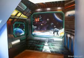 chambre wars decor trompe l oeil vaisseaux wars deco