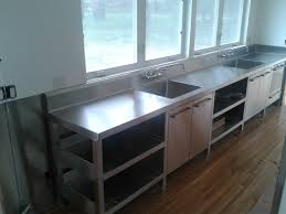 Stainless Steel Kitchen Cabinets Commercial Stainless Steel Kitchen Cabinets Brown Wooden