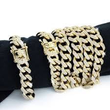 bracelet diamond ebay images Mens cuban miami link bracelet chain set 14k gold plated 26ct jpg