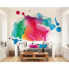 watercolor splattered bricks wall mural wals0238 the home depot null watercolor splattered bricks wall mural