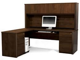 L Shaped Office Desk With Hutch Home Office Simple L Shaped Brown Corner Computer Desk For