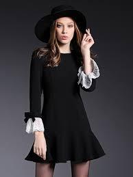 us black long sleeve bowtie detail lace cuff ruffle trim mini