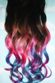 Colored Hair Extension by Pastel Tie Dye Tip Extensions Dark Brown Black 22 Inches Long