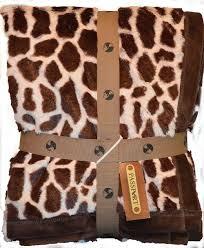 Leopard Print Faux Fur Throw Giraffe African Animal Print Throw Blanket
