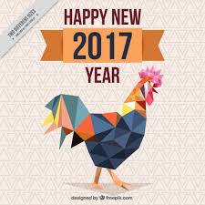 year background with polygonal rooster vector free