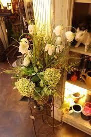 evergreen home decor beautiful silk floral arrangement in greens creams with hydrangeas
