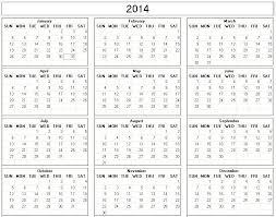 printable calendar yearly 2014 yearly 2014 printable calendar large black white week starts on