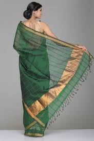 Buy Green Plain Cotton Silk Gorgeous Green Puttur Silk Cotton Saree With Self Check U0026 Striped