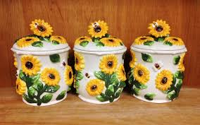 Sunflower Canister Sets Kitchen Amazon Com Sunflower 3pc Canister Storage Set 3 D New Home U0026 Kitchen