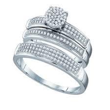 wedding ring trio sets 10k white gold 0 40 cttw miro pave wedding band engagement