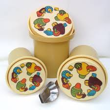 1970s harvest gold canisters nesting rubbermaid canisters mushroom