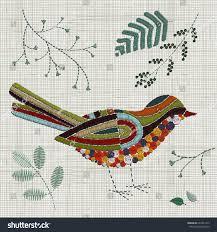 embroidery bird vector embroidery home decor stock vector
