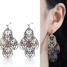 clip on chandelier earrings silver hoop invisible clip on earrings from miyabigrace on etsy