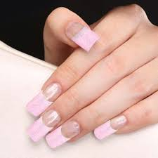 yaoshun 70 pcs half nail tips french manicure pink glitter design