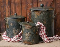 primitive kitchen canisters kitchen canister etsy