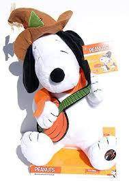 peanuts thanksgiving banjo plush musical snoopy 12