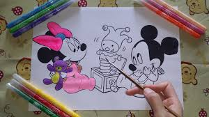 baby mickey and minnie mouse coloring page fun video to learn