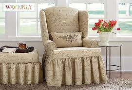 sure fit slipcovers wing chair pen pal by waverly wing chair slipcover a playfully scripted