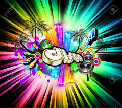 high tech disco background with glowing rainbow lights