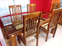 Wooden Dining Table Designs With Glass Top Glass Top Dining Table Buy Online Lowest Price Online On All