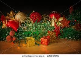 Antique Christmas Lights Beautiful Christmas Tree Gifts On Wooden Stock Photo 83179660