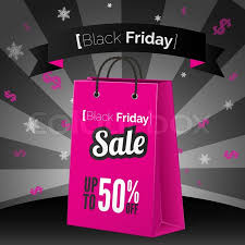 black friday pink black friday sale poster with shopping bag and ribbon stock