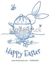 Easter Egg Decorating Bunny by Funny Easter Bunny Hiding Behind Easter Stock Vector 249945559