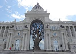 iron tree constructed in archway of russian ministry of