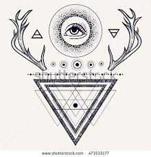 blackwork tattoo flash dreamcatcher third eye stock vector