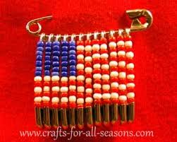 american flag beaded safety pin