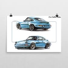 singer porsche blue singer porsche 911 poster u2013 car central media