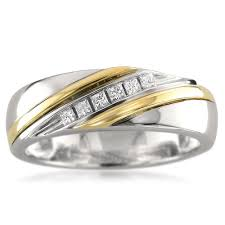 two tone mens wedding bands 14k two tone yellow gold princess cut diamond men s wedding band