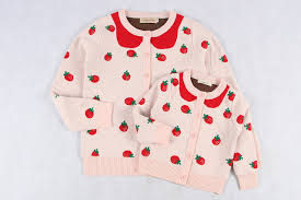 strawberry sweater baby family clothes autumn winter strawberry