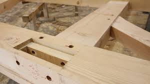wood and wood joinery island timber frame