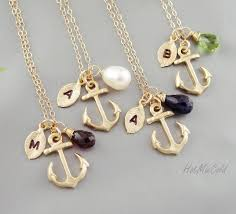 marine jewelry four initial anchor necklace monogram birthstone necklace