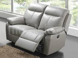 canap relaxation electrique canapé relax électrique 2 places cuir gris chez mobistoxx