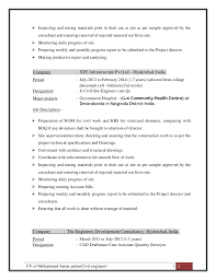 Sample Resume India Brilliant Ideas Of Sample Resume For Civil Site Engineer With