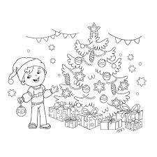 boy under christmas tree clip art vector images u0026 illustrations